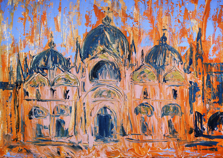 Art painting of the San Marco square and church in Venice, Italy