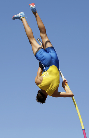 In pole vault event 写真素材