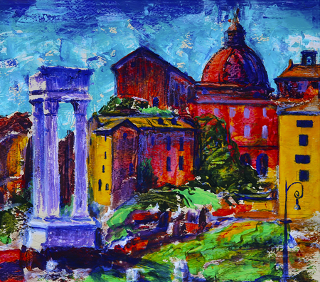Art painting of roman cityscape in front of the Theatre of Marcellus Stock Photo