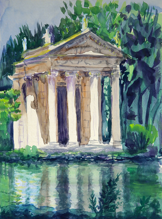 Watercolor of Temple of Aesculapius located in gardens of the Villa Borghese in Rome, Italy Reklamní fotografie