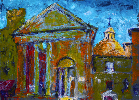 Painting of the Portico of Octavia in Rome, Italy