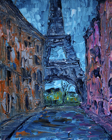 Art painting of Paris street with Eiffel Tower Reklamní fotografie