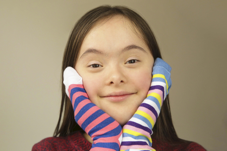 Beautiful girl smiling with socks