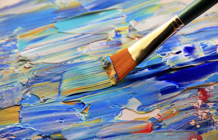 Closeup background of brush and palette. Stockfoto