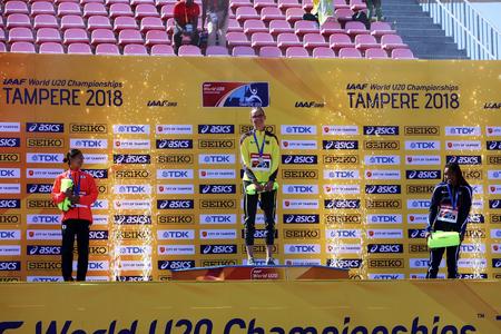 TAMPERE, FINLAND,  July 14: AYAKA KORA (Japan) win silver, LEA-JASMIN RIECKE (Germany) win gold, TARA DAVIS (USA) win bronze medal in long jump on the IAAF World U20 Championships on July 14, 2018