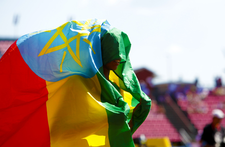 TAMPERE, FINLAND, July 12: ALEMAZ SAMUEL  (Ethiopia) win gold medal in 1500 metrs on the IAAF World U20 Championship in Tampere, Finland 15 July, 2018. Редакционное