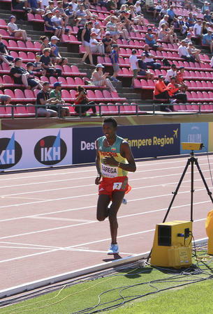 TAMPERE, FINLAND, July 14: SELEMON BAREGA from Ethiopia running 5000 meter on the IAAF World U20 Championship in Tampere, Finland 14 July, 2018.