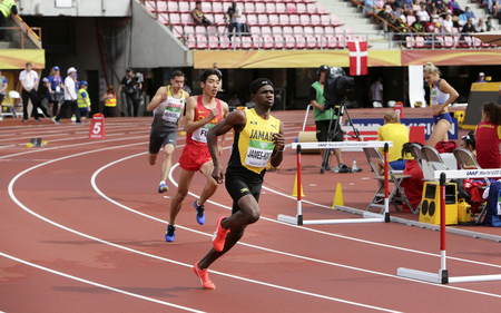 TAMPERE, FINLAND, July 12: MALIK JAMES-KING from Jamaica run 400 metrs hurdles heats on the IAAF World U20 Championship in Tampere, Finland 12 July, 2018.