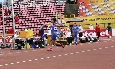 TAMPERE, FINLAND, July 11: HUIJUN LI from CHINESE TAIPEI on the javelin throw event in the IAAF World U20 Championship in Tampere, Finland 11 July, 2018.