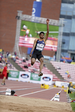 TAMPERE, FINLAND, July 11: M SREESHANKAR from India take 6th place in the long jump final at the IAAF World U20 Championships in Tampere, Finland on July 11, 2018.