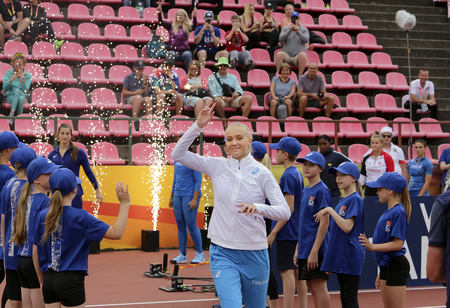 TAMPERE, FINLAND, July 11: ELINA KINNUNEN from Finland on the javelin throw event in the IAAF World U20 Championship in Tampere, Finland 11 July, 2018. Редакционное
