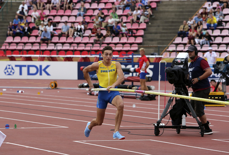 TAMPERE, FINLAND,  July 11: ARMAND DUPLANTIS from Sweden win pole vault event on IAAF World U20 Championship Tampere, Finland 11 July, 2018.