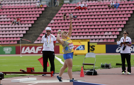 TAMPERE, FINLAND,  July 11: TETYANA KRAVCHENKO from Ukraine in the shot put final at the IAAF World U20 Championships in Tampere, Finland on July 11, 2018. Editorial