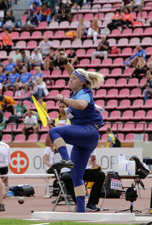 TAMPERE, FINLAND, July 11: LINDSAY BAKER from USA in the shot put final at the IAAF World U20 Championships in Tampere, Finland on July 11, 2018.