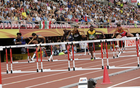 TAMPERE, FINLAND, July 11: Athletes on the 110 meters hurdles men Semi - final in the IAAF World U20 Championship in Tampere, Finland 11 July, 2018.