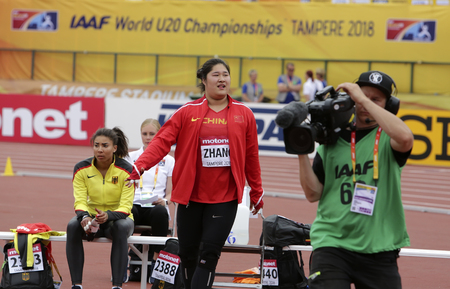 TAMPERE, FINLAND, July 11: LINRU ZHANG from CHINA win silver medal in the shot put final at the IAAF World U20 Championships in Tampere, Finland on July 11, 2018.