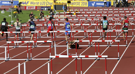 TAMPERE, FINLAND, July 11: Athletes running 110 meters hurdles heats in the IAAF World U20 Championship in Tampere, Finland 11 July, 2018.