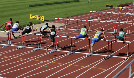 TAMPERE, FINLAND, July 11: OSCAR SMITH (BAH), XIN XU (MAC), FILIP JAKOB DEMSAR (SLO), OLEKSIY OVCHARENKO (UKR), SILUSAPHO DINGISWAYO (RSA),  in 110 metrs hurdles Heats on the IAAF World U20 Championship in Tampere, Finland 11th July, 2018.