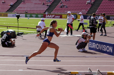 TAMPERE, FINLAND, July 11: PIIBE KIRKE ALJAS (ESTONIA) on the 400 metrs hurdles in IAAF World U20 Championship in Tampere, Finland 11 July, 2018