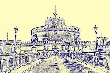 Roman cityscape of the Castel Sant Angelo
