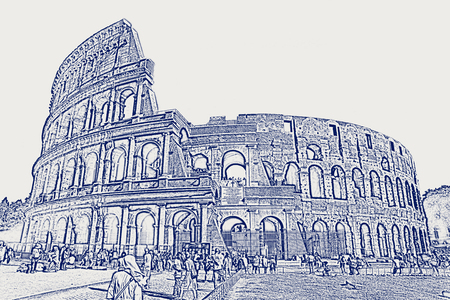 Roman cityscape of the Colosseum