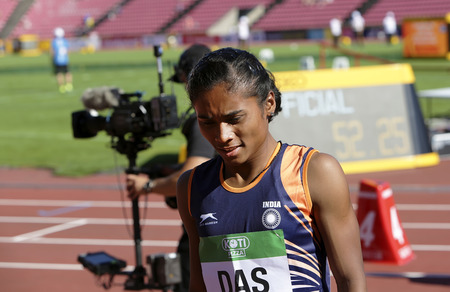 TAMPERE, FINLAND, July 10: HIMA DAS  (India) win gold medal in 400 metrs on the IAAF World U20 Championship in Tampere, Finland 10 July, 2018. 新聞圖片