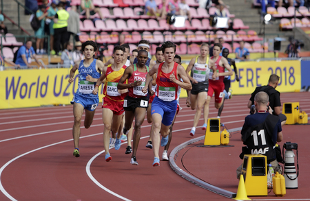TAMPERE, FINLAND, July 10: Athletes running 1500 metres in the IAAF World U20 Championship in Tampere, Finland 10th July, 2018.