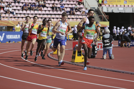 TAMPERE, FINLAND, July 10: Athletes running 1500 metres in the IAAF World U20 Championship in Tampere, Finland 10th July, 2018. Editorial