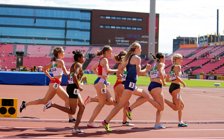TAMPERE, FINLAND, July 10: Athletes running 800 metres in the IAAF World U20 Championship in Tampere, Finland 10th July, 2018. Publikacyjne