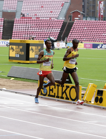 TAMPERE, FINLAND, July 12: TAKELE NIGATE from ETHIOPIA, Albert CHEMUTA from UGANDA, running 3000 metres STEEPLECHASE on the IAAF World U20 Championship in Tampere, Finland 12 July, 2018.