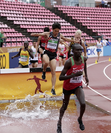 TAMPERE, FINLAND, July 12: Athletes running 3000 metres STEEPLECHASE on the IAAF World U20 Championship in Tampere, Finland 12 July, 2018