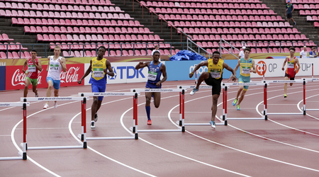 TAMPERE, FINLAND, July 12: Athlets running 400 metrs hurdles heats on the IAAF World U20 Championship in Tampere, Finland 12 July, 2018. Standard-Bild - 126230061