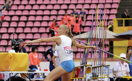 TAMPERE, FINLAND, July 11: ELINA KINNUNEN from Finland on the javelin throw event in the IAAF World U20 Championship in Tampere, Finland 11 July, 2018. Foto de archivo - 126230073