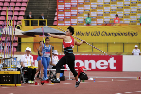 TAMPERE, FINLAND, July 11: QIANQIAN DAI from China was 6th in the javelin throw final in the IAAF World U20 Championship in Tampere, Finland 11 July, 2018. Foto de archivo - 126230075