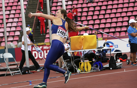 TAMPERE, FINLAND, July 11: DANA BAKER from USA win bronze on the javelin throw final in the IAAF World U20 Championship in Tampere, Finland 11 July, 2018. Foto de archivo - 126230080
