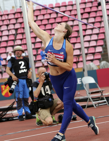 TAMPERE, FINLAND, July 11: DANA BAKER from USA win bronze on the javelin throw final in the IAAF World U20 Championship in Tampere, Finland 11 July, 2018. Foto de archivo - 126230081