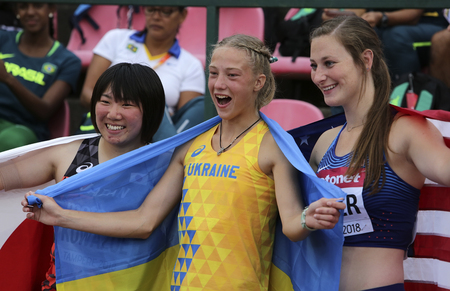 TAMPERE, FINLAND, July 12: Alina Shukh (Ukraine) win javelin throw final in the IAAF World U20 Championship in Tampere, Finland 12th July, 2018. Foto de archivo - 126230085