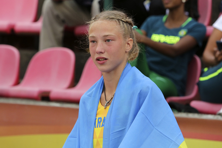 TAMPERE, FINLAND, July 11: Alina Shukh (Ukraine) win javelin throw final in the IAAF World U20 Championship in Tampere, Finland 11 July, 2018. Foto de archivo - 126230088