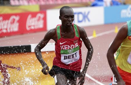 TAMPERE, FINLAND, July 12: LEONARD KIPKEMOI BETT from KENYA win silver medal in 3000 metres STEEPLECHASE on the IAAF World U20 Championship in Tampere, Finland 12 July, 2018 Foto de archivo - 126230093