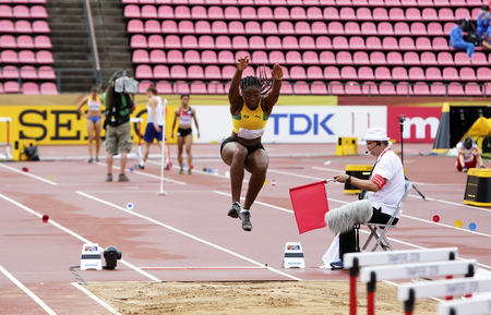 TAMPERE, FINLAND, July 12: JSUSAN FRANCIS (JAMAICA) on the long jump on the IAAF World U20 Championship Tampere, Finland 12 July, 2018 Foto de archivo - 126230096