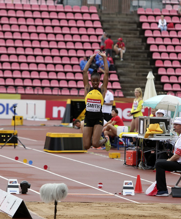 TAMPERE, FINLAND, July 12: JSUSAN FRANCIS (JAMAICA) on the long jump on the IAAF World U20 Championship Tampere, Finland 12 July, 2018 Foto de archivo - 126230098