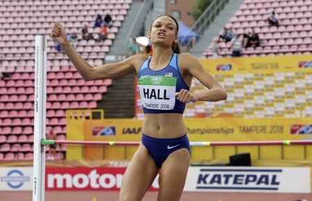 TAMPERE, FINLAND,  July 12: ANNA HALL (USA), american track and field athlete on heptathlon event in the IAAF World U20 Championship Tampere, Finland 12th July, 2018. Foto de archivo - 126230129