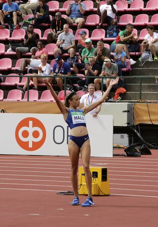 TAMPERE, FINLAND,  July 12: ANNA HALL (USA), american track and field athlete on heptathlon event in the IAAF World U20 Championship Tampere, Finland 12th July, 2018. Foto de archivo - 126230132