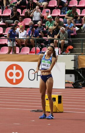 TAMPERE, FINLAND,  July 12: ANNA HALL (USA), american track and field athlete on heptathlon event in the IAAF World U20 Championship Tampere, Finland 12th July, 2018. Foto de archivo - 126230134