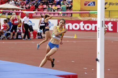 TAMPERE, FINLAND,  July 12: DARIA DIKHANOVA from Ukraine on high jump  in heptathlon in the IAAF World U20 Championship Tampere, Finland 12th July, 2018. Foto de archivo - 126230147