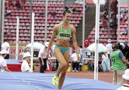 TAMPERE, FINLAND,  July 12: CELESTE MUCCI (AUSTRALIA) on high jump heptathlon event in the IAAF World U20 Championship Tampere, Finland 12 July, 2018. Foto de archivo - 126230164