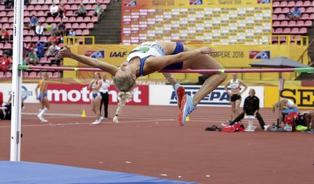 TAMPERE, FINLAND,  July 12: NIAMH EMERSON (GBR), English track and field athlete leeds in heptathlon in the IAAF World U20 Championship Tampere, Finland 12th July, 2018. Foto de archivo - 126230168