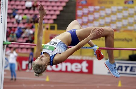 TAMPERE, FINLAND,  July 12: NIAMH EMERSON (GBR), English track and field athlete leeds in heptathlon in the IAAF World U20 Championship Tampere, Finland 12th July, 2018. Foto de archivo - 126230173