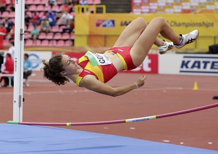TAMPERE, FINLAND,  July 12: CLAUDIA CONTE (SPAIN) on high jump heptathlon event in the IAAF World U20 Championship Tampere, Finland 12 July, 2018. Foto de archivo - 126230175