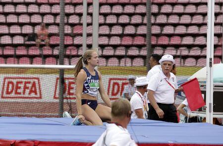 TAMPERE, FINLAND,  July 12: AGATHE GUILLEMOT (FRANCE) on high jump heptathlon event in the IAAF World U20 Championship Tampere, Finland 12 July, 2018. Foto de archivo - 126230176